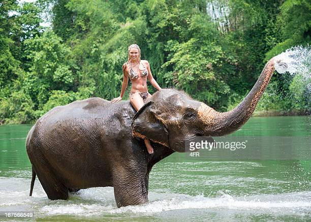 Woman riding on an Elephant, Tropical Rain Forest