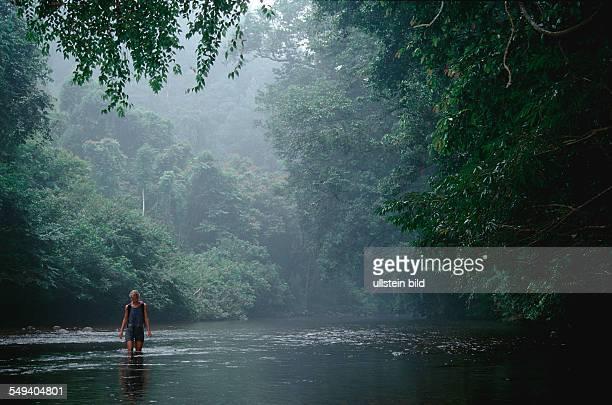 woman river Rainforest Dschungle Malaysia Taman Negara