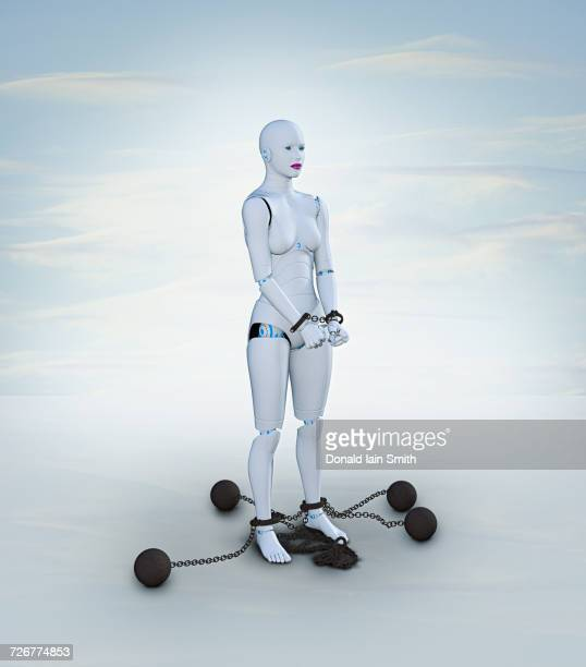 Woman robot in shackles