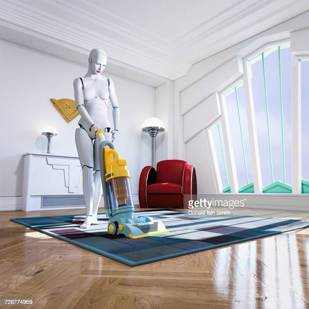 Woman robot vacuuming rug