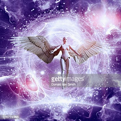 Woman Robot With Angel Wings Flying In Purple Sky Stock ...