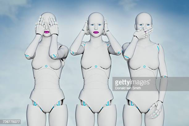 woman robots covering eyes, ears and mouth - see no evil hear no evil speak no evil stock pictures, royalty-free photos & images
