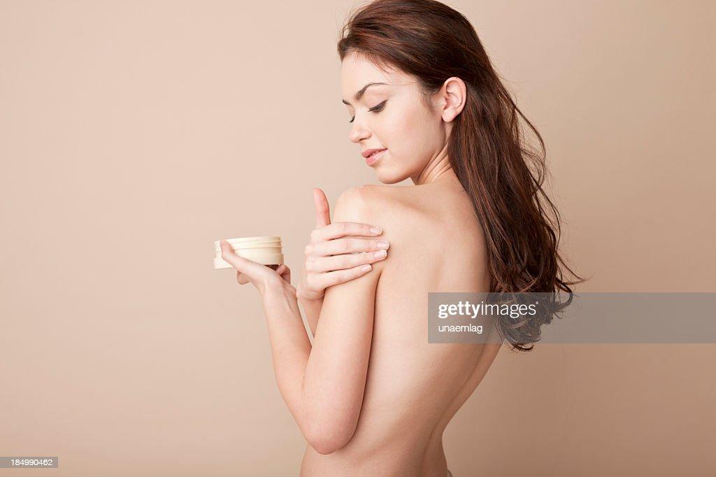 Frau mit Kosmetik : Stock-Foto