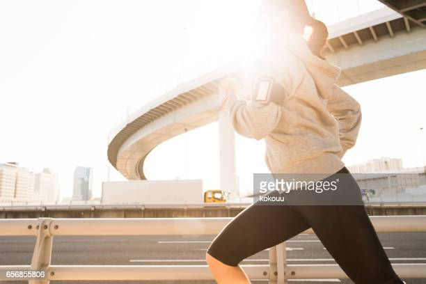A woman running in a hurry