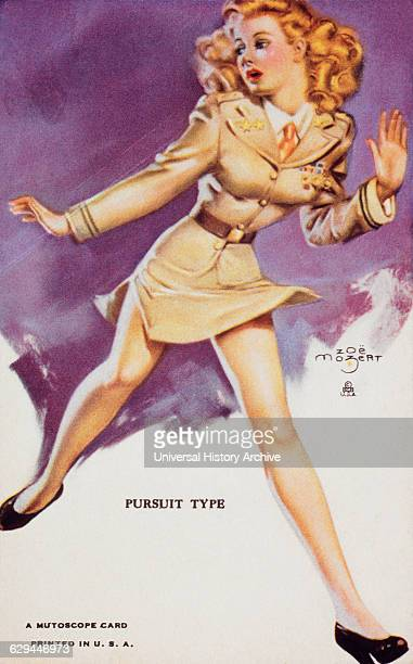 Woman Running in Officer's Uniform 'Pursuit Type' Mutoscope Card 1940's