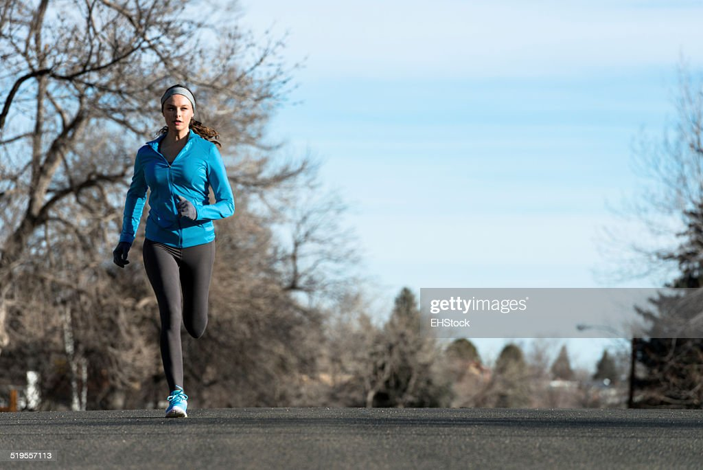 Woman Running in Winter : Stock Photo