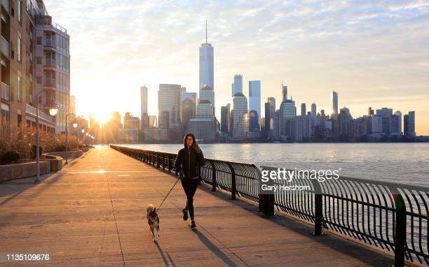 A woman runs with her dog as the sun rises behind the skyline of lower Manhattan and One World Trade Center in New York City on March 11 2019 as seen...