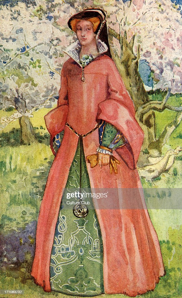 Woman 's costume in reign of Mary I (1553-1558) : News Photo
