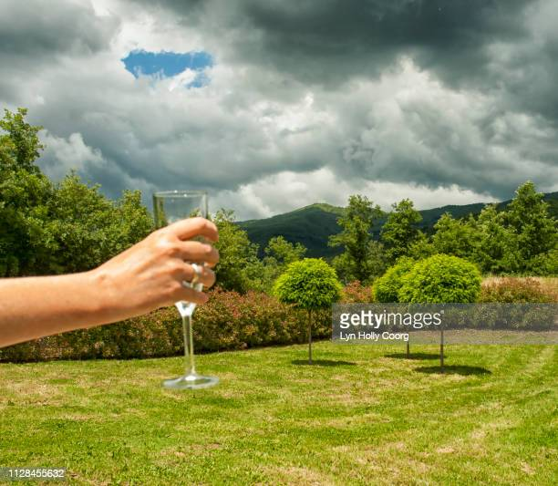 woman s hand holding glass of wine with umbrian hills in background - lyn holly coorg stock pictures, royalty-free photos & images