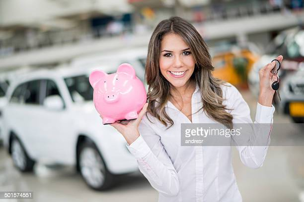 Woman saving for a car