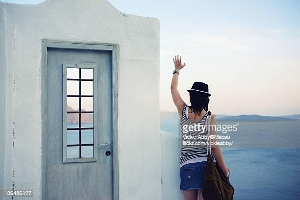 Woman saying bye