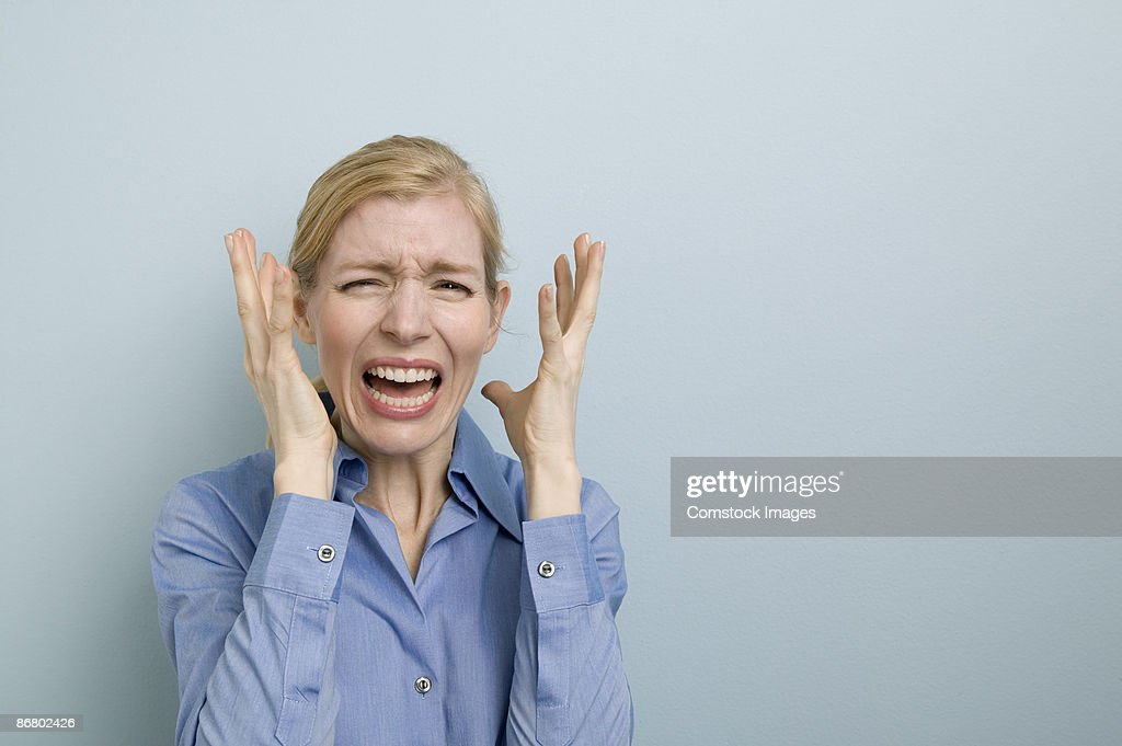 Woman screaming : Stock Photo