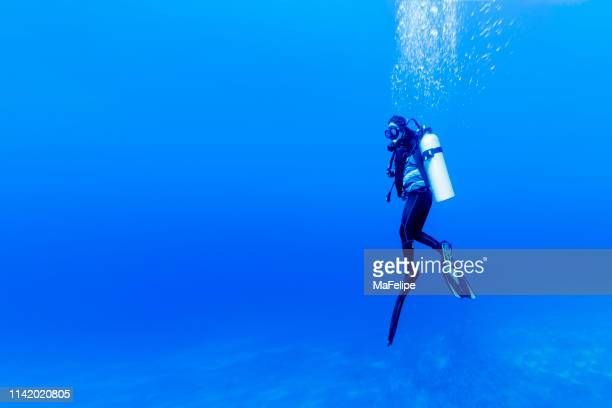 woman scuba diving in rangiroa atoll, french polynesia - aqualung diving equipment stock pictures, royalty-free photos & images