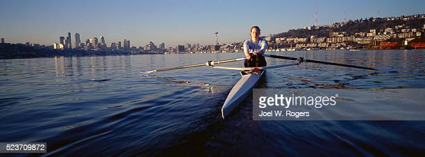 Woman Sculling on Lake Union in Seattle