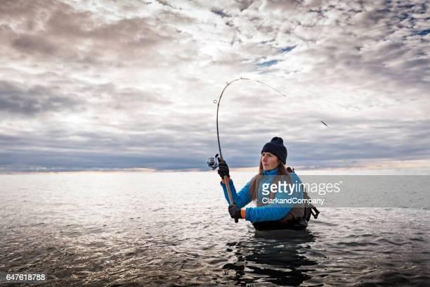 Woman Sea Fishing at Møns Klint Denmark