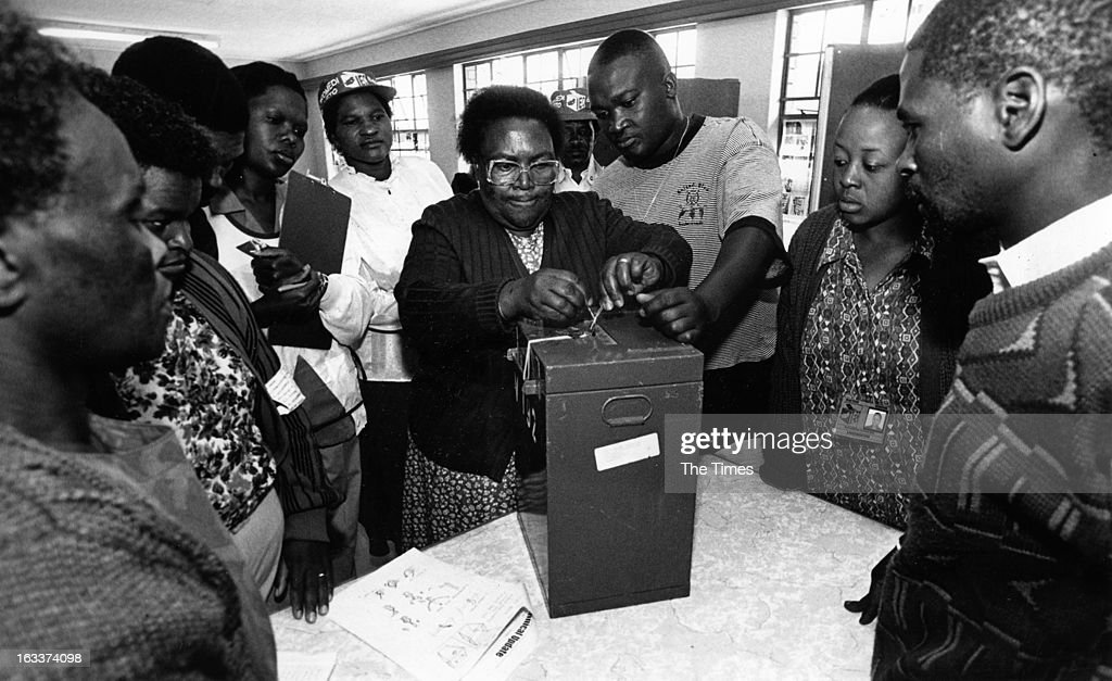 A woman sealing a ballot box during the 1994 general elections on April 27, 1994 Johannesburg, in South Africa.