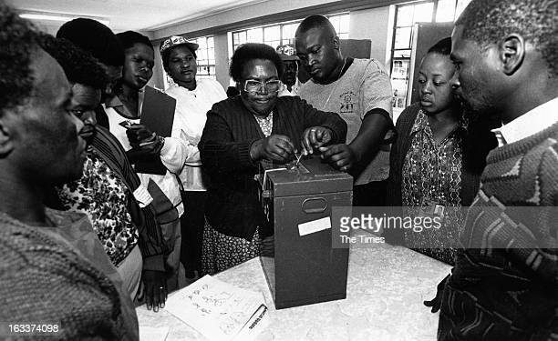 Woman sealing a ballot box during the 1994 general elections on April 27, 1994 Johannesburg, in South Africa.