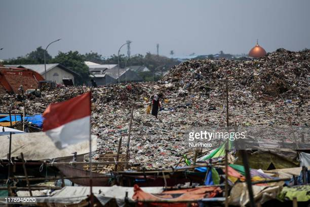 A woman searches for items and plastics to sell for recycling at Rawa Kucing landfill in Tangerang Banten province Indonesia on 14 October 2019...