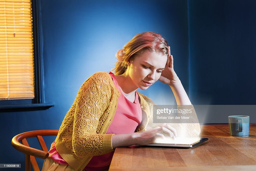 woman searching on digital tablet. : Stock Photo