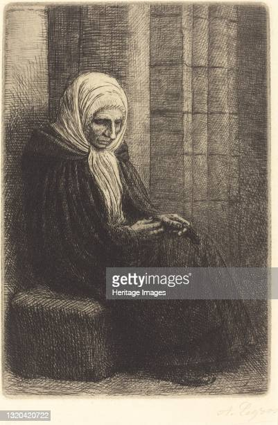 Woman Seated against a Wall, Child with His Head in Her Lap . Artist Alphonse Legros.