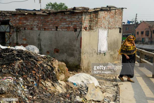 Woman seen at the tannery factory polluted area in Hazaribagh. Most people in this area have become victims of pollution due to the presence of toxic...