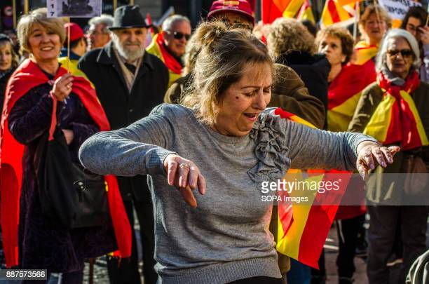 A woman seen dancing a pasodoble in Sant Jaume square to celebrate the 39 anniversary of the Spanish Constitution Spain celebrates today the 39...