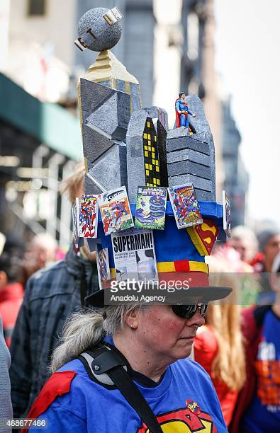 A woman seen during Easter Parade which brings out creative hats for procession along Fifth Avenue in Manhattan New York on April 05 2015 The parade...
