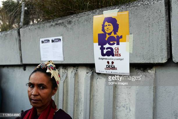 ALUCHE MADRID MADRID SPAIN A woman seen looking on as she takes part during the protest against racism in front of the Immigrant detention centre in...