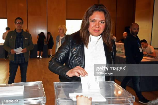 EL VENDRELL TARRAGONA SPAIN A woman seen voting for the European deputies and for the mayoralty of the city of El Vendrell Catalonia Spain during the...