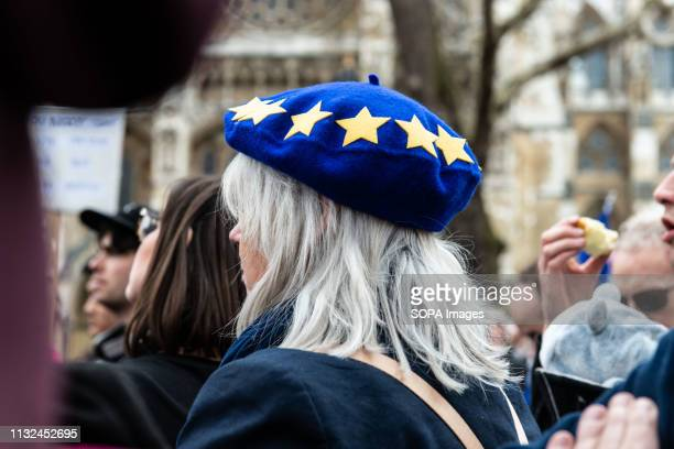 A woman seen with an EU beret during the protest Over one million protesters gathered at the People's Rally in London demanding a second vote in the...