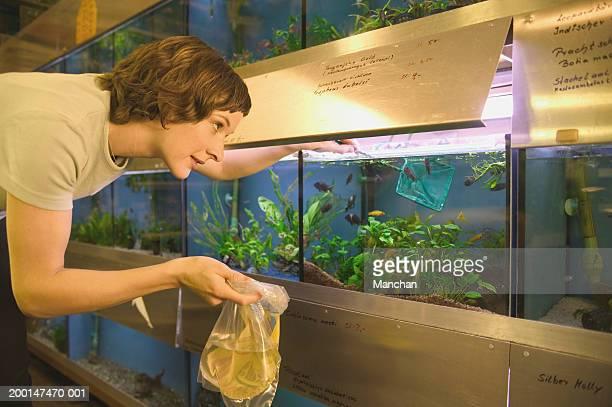 Woman selecting fish in aquarium tank, holding water-filled bag