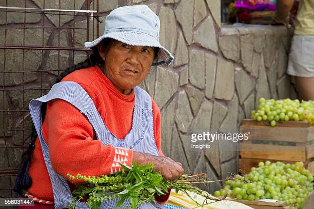 Woman Selling Basil At The Jueves De Comadres Market During Carnaval Chapaco Tarija Bolivia