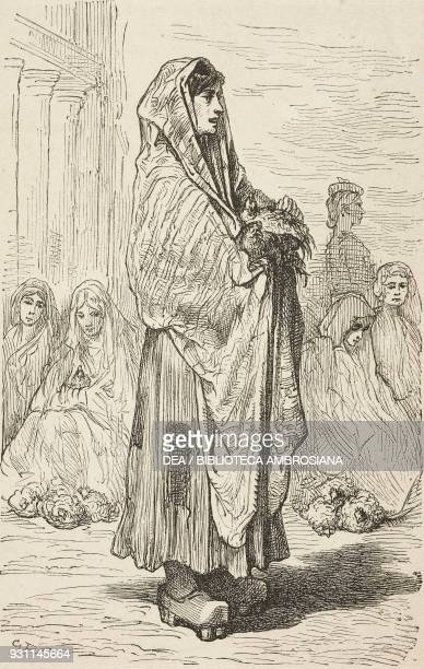 Woman selling chickens in VitoriaGasteiz drawing by Gustave Dore from Travels in Spain by Gustave Dore and Charles Davillier from Il Giro del mondo...