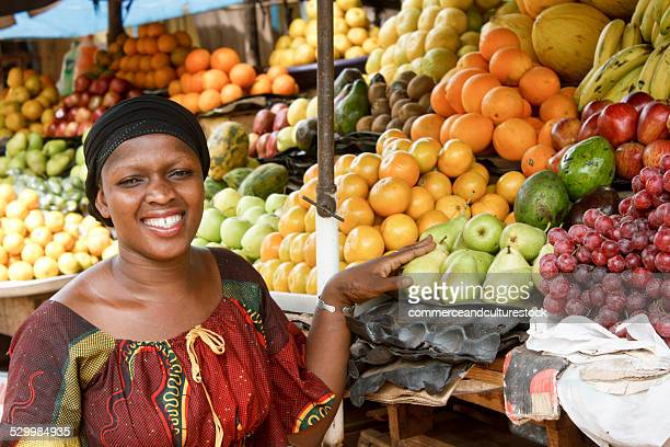 A woman selling fruit
