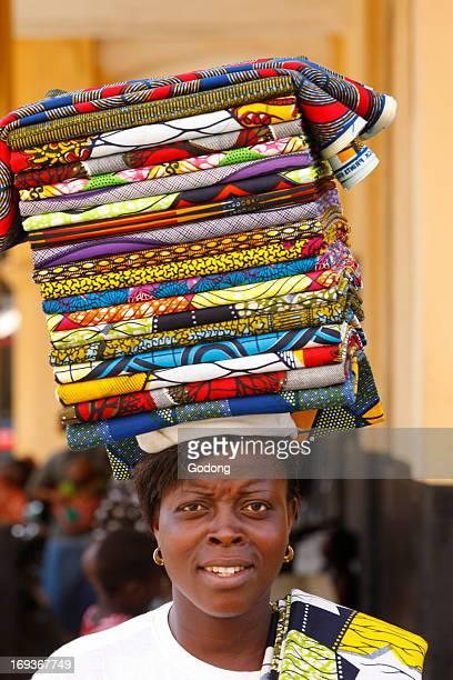 Woman selling loincloths Togo