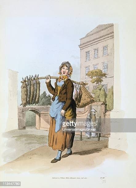 Woman selling rabbits in a town street From William Henry Pyne The Costume of Great Britain London 1808 Aquatint
