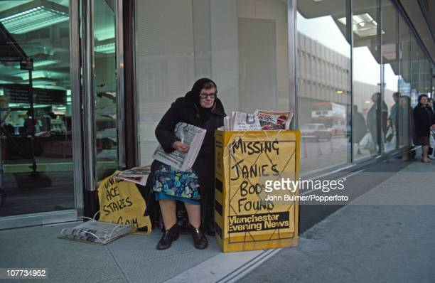 A woman selling the Manchester Evening News in Manchester April 1977 The headline reads 'Missing Janie's Body Found' referring to murdered Australian...