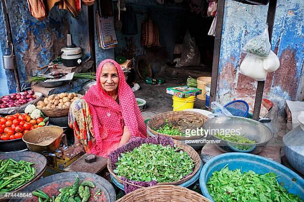 Woman Selling Vegetables at Sardar Market in Jodhpur, India