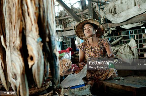 A woman sells dried fish in the Sittwe fish market