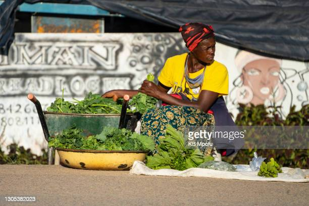 Woman sells vegetables on the streets of the Cowdray Park suburb on March 4, 2021 in Bulawayo, Zimbabwe. Despite its perennial water troubles, the...