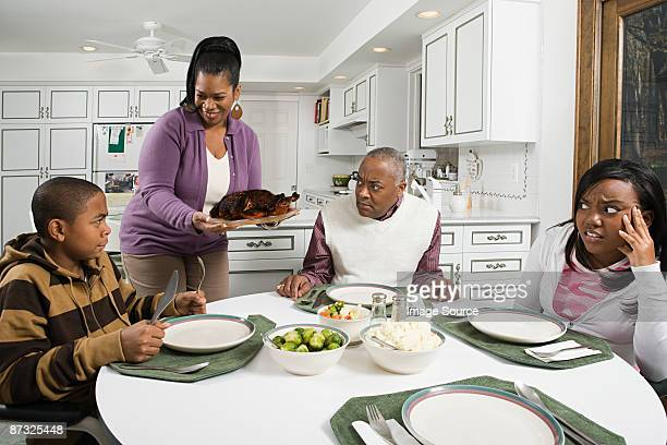 Woman serving burned turkey