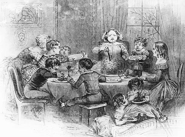 A woman serving Christmas pudding to a group of children...