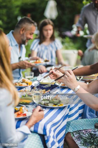 woman serving food while sitting with friends and family at backyard during weekend party - gartenparty stock-fotos und bilder