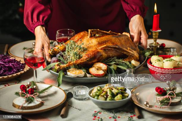 frau setzt den tisch für das weihnachtsessen - menschliches körperteil stock-fotos und bilder