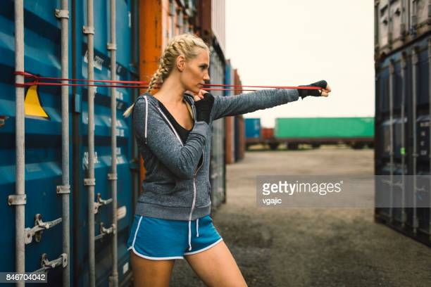 woman shadow boxing - women's boxing stock pictures, royalty-free photos & images