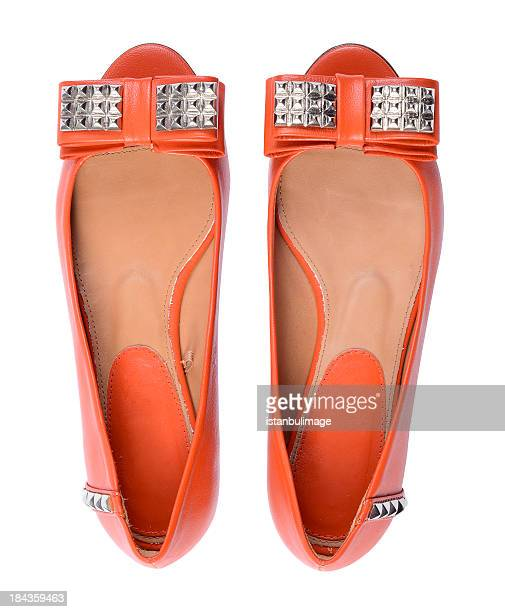 woman shoes - orange shoe stock photos and pictures