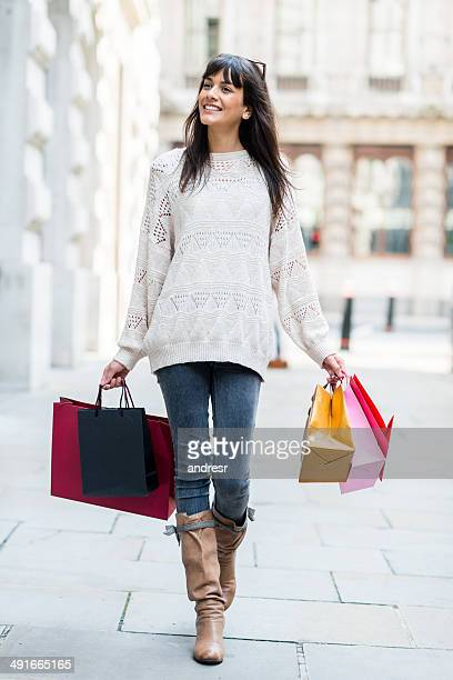 Woman shopping and walking