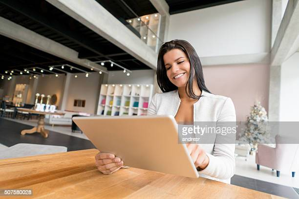 Woman shopping at a furniture store