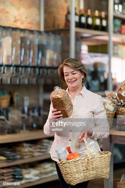 Woman shopping at a grocery store