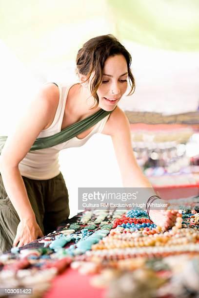 Woman shopping at artisan market